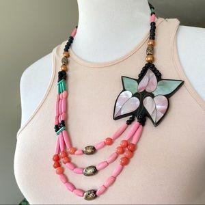 Vintage 70s Lee Sands Mother of Pearl Necklace
